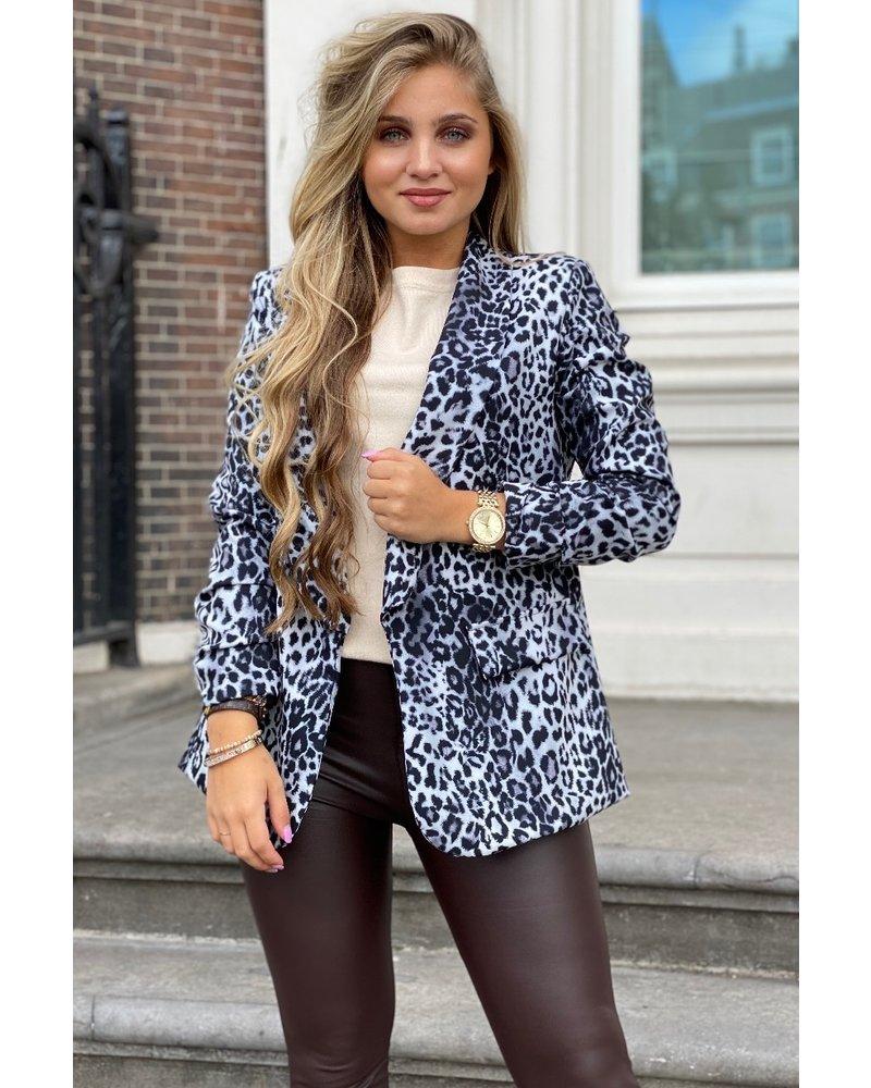 Leopard Blazer - Grey/Black