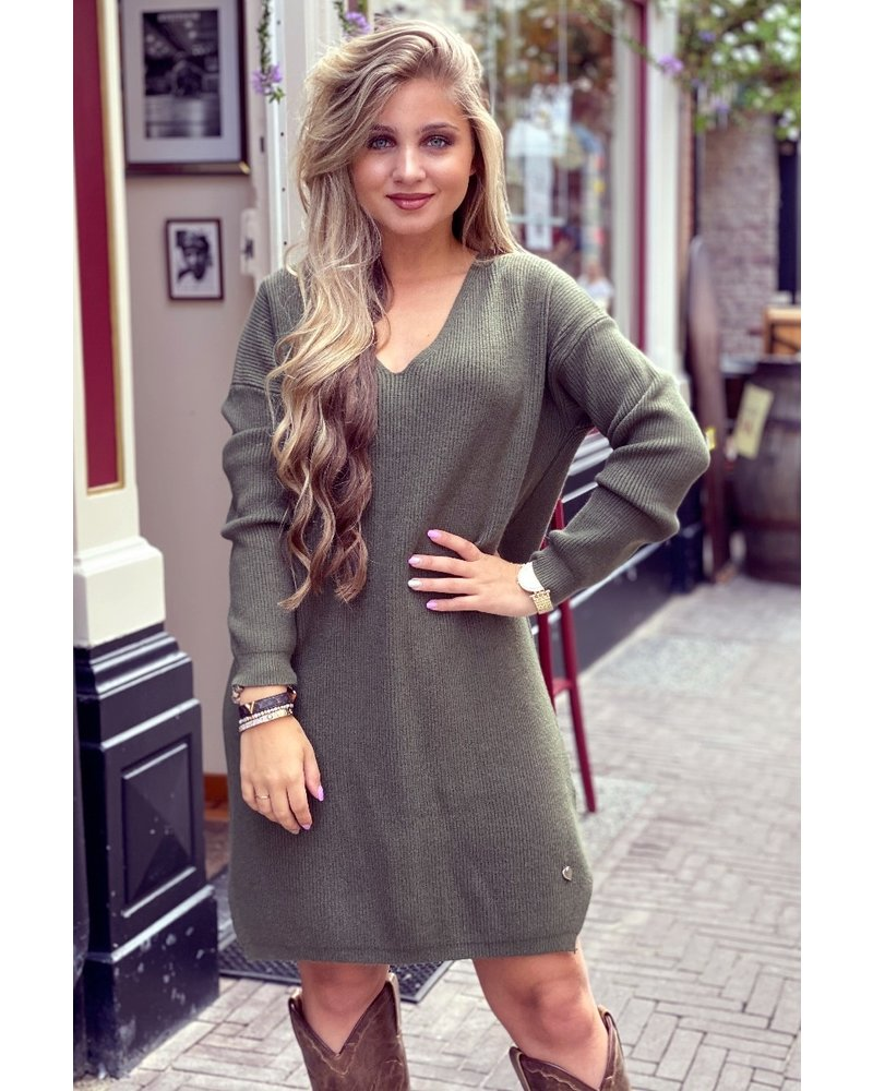 Comfy Sweater Dress - Army Green