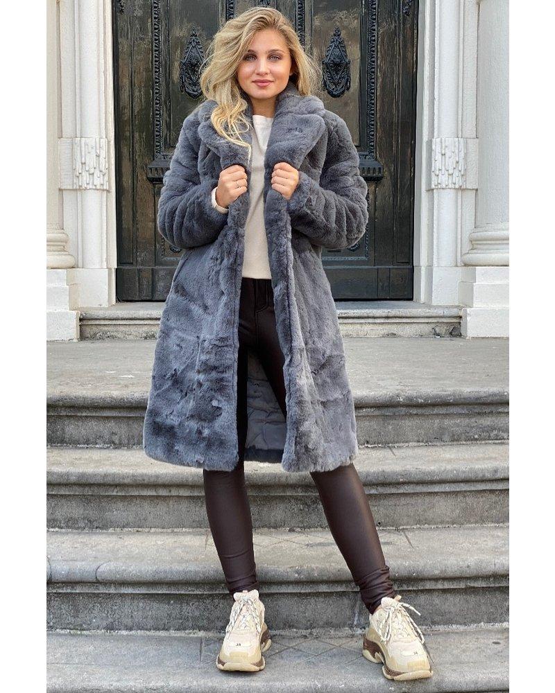 Fabienne Fake Fur Coat - Grey