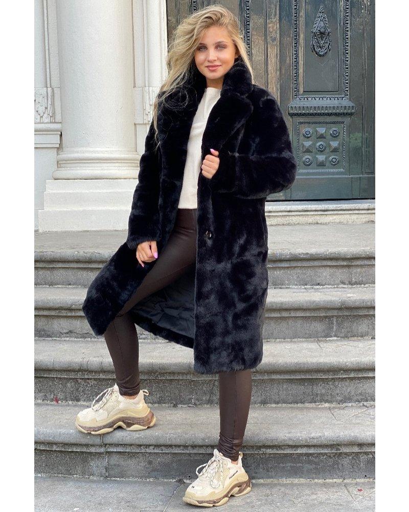 Fabienne Fake Fur Coat - Black