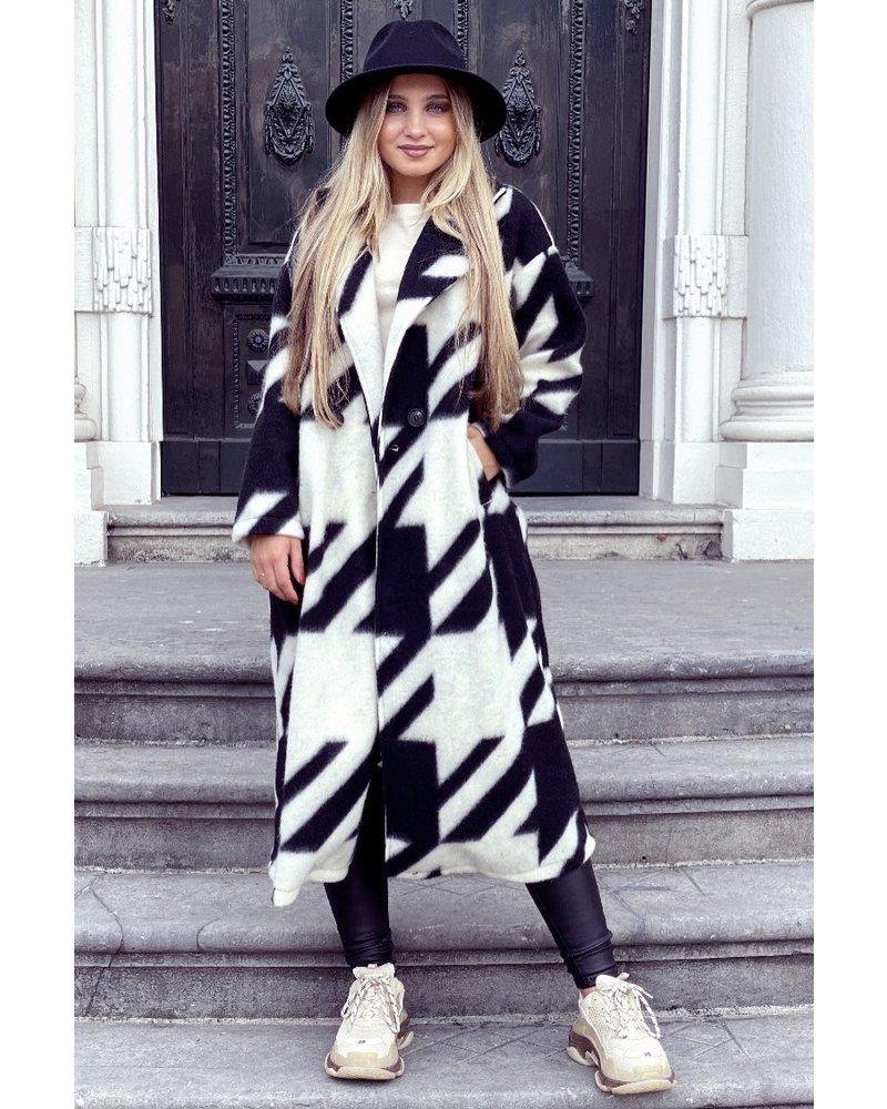 Nikki Coat - Black/White