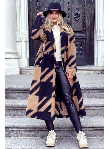 Nikki Coat - Camel/Black (PRE-ORDER)