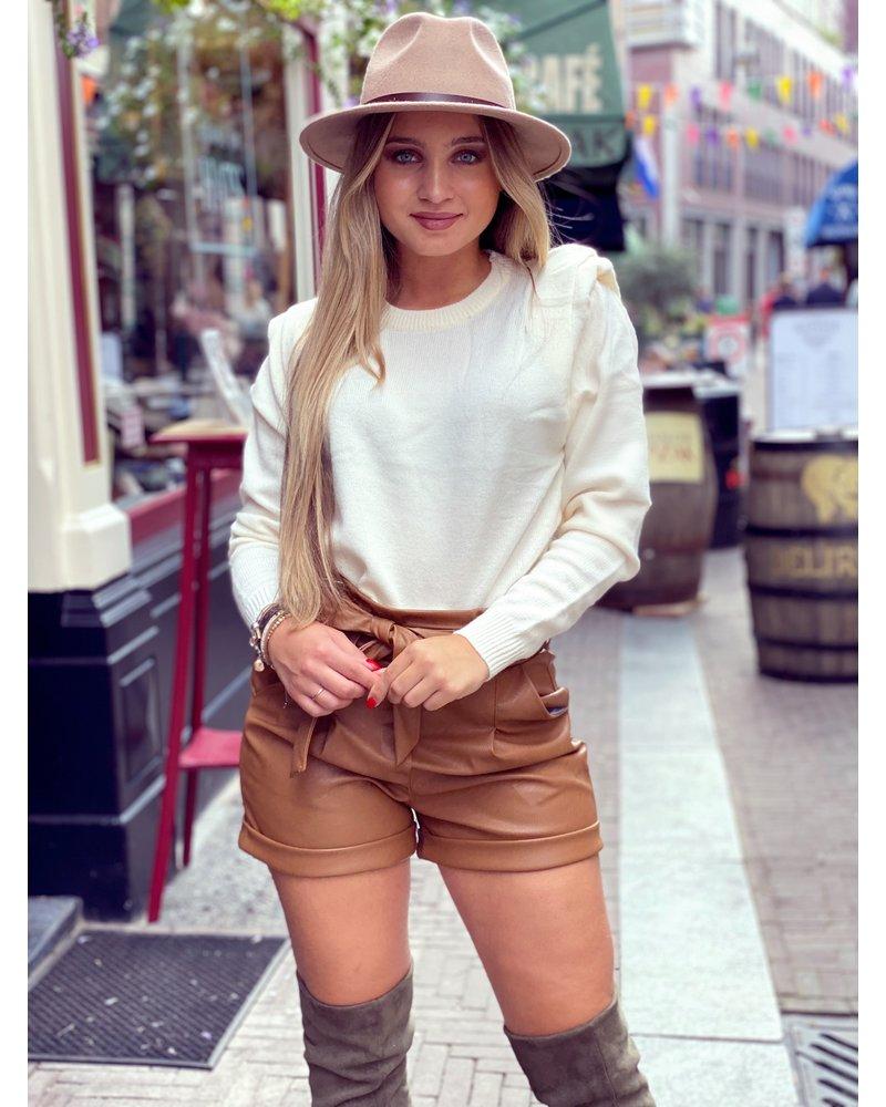 Leather Strik Short - Brown