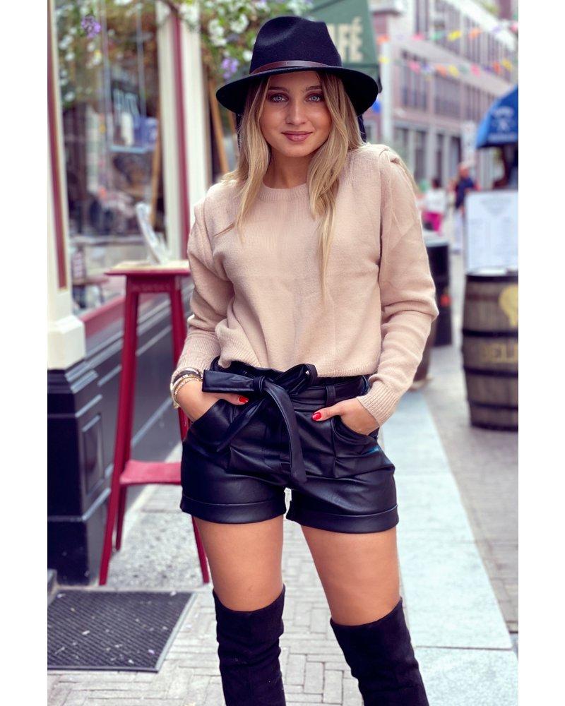 Leather Strik Short - Black