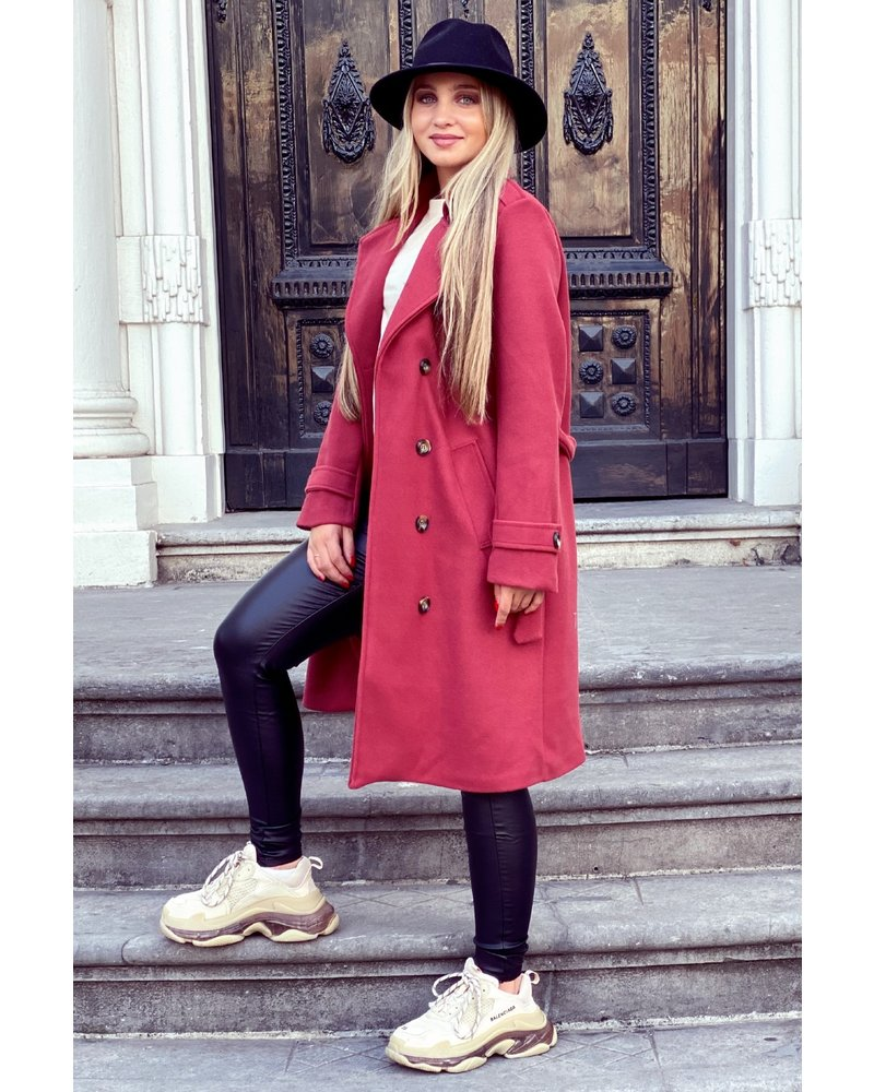 Roxi Trenchcoat - Raspberry