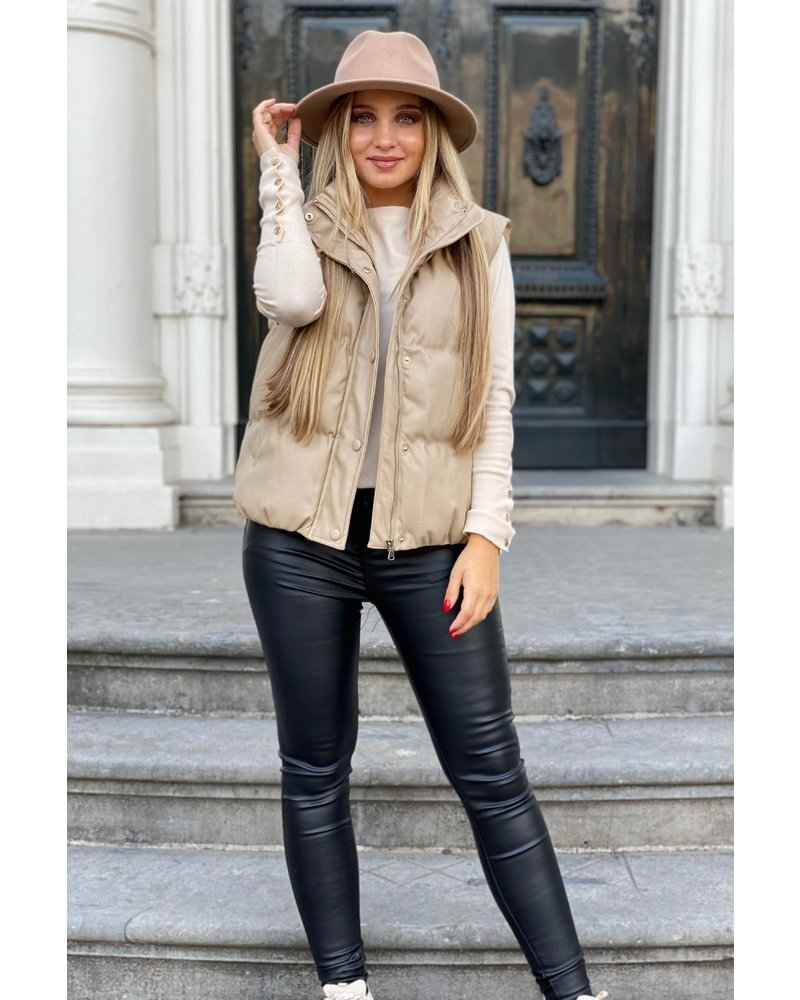 Perfect Leather Gilet - Beige