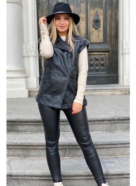 Oversized Leather Gilet - Black