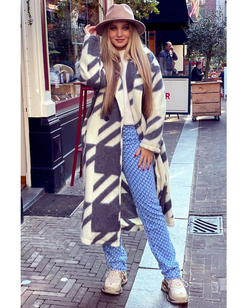 Nikki Coat - Grey/White