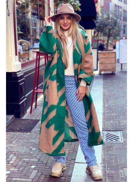 Nikki Coat - Green/Camel