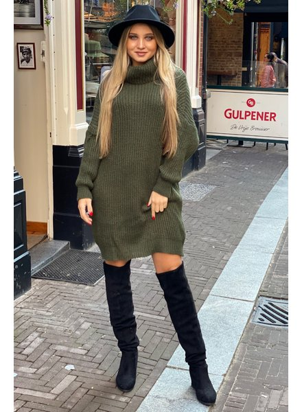 Knitted Col Dress - Army Green