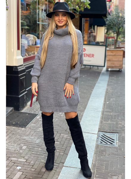 Knitted Col Dress - Grey