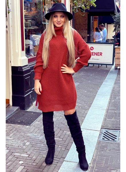 Knitted Col Dress - Rusty