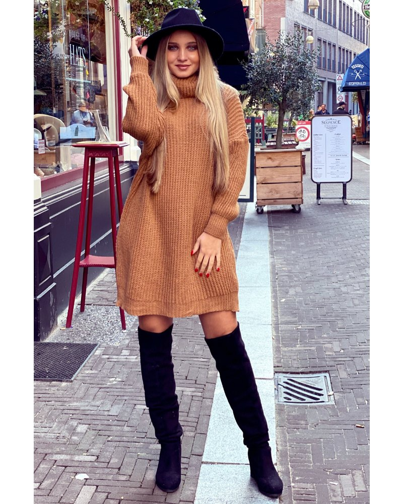 Knitted Col Dress - Camel