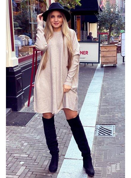 Ribbed Sweater Dress - Beige
