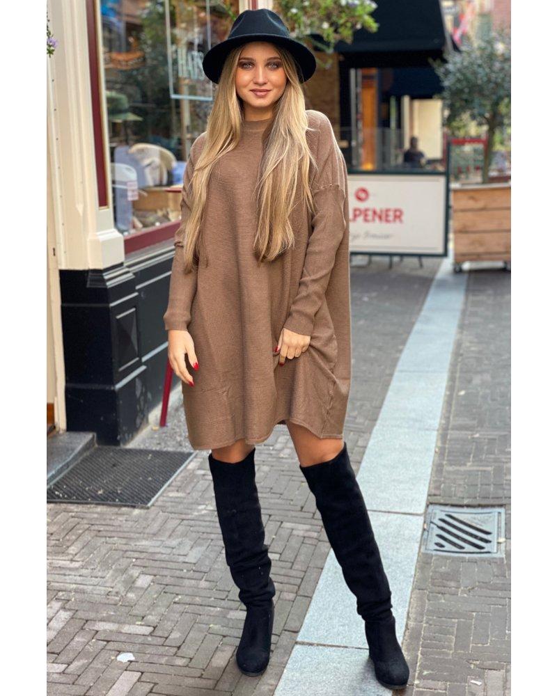 Ribbed Sweater Dress - Camel
