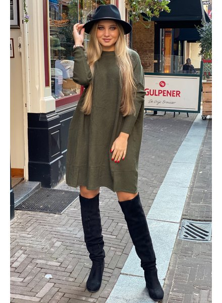 Ribbed Sweater Dress - Army Green