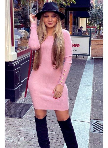 Pencil Button Sleeve Dress - Pink