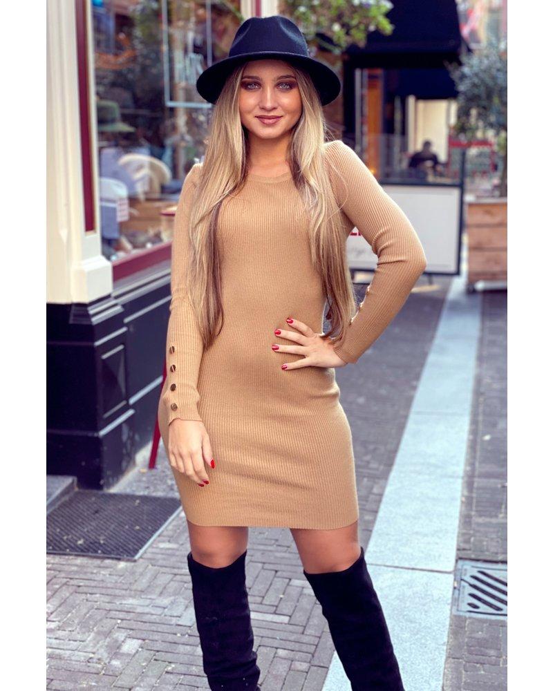 Pencil Button Sleeve Dress - Camel