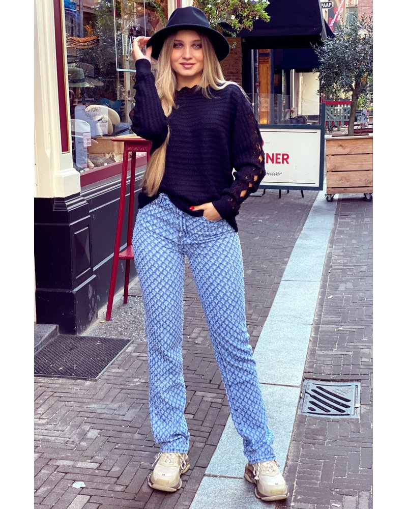 Ripped Pattern Jeans - Blue