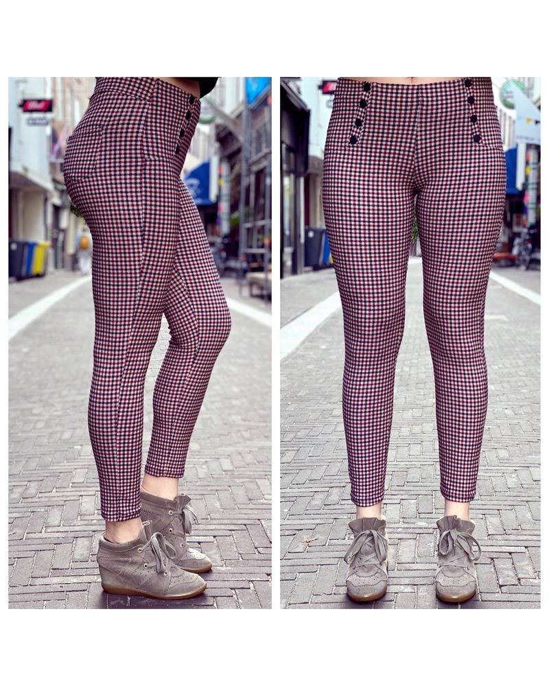 Button Checkered Pants - Beige/Bordeaux/Black