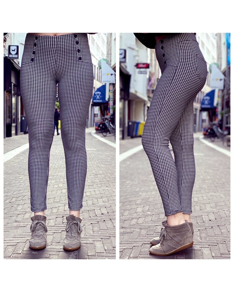 Button Checkered Pants - Black/White