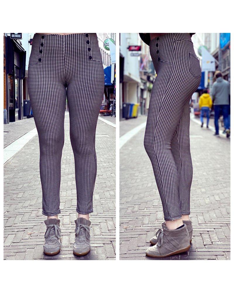 Button Checkered Pants - Black/Beige
