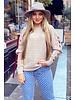 Lace Open Sleeve Sweater - Beige