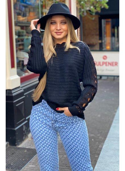 Lace Open Sleeve Sweater - Black