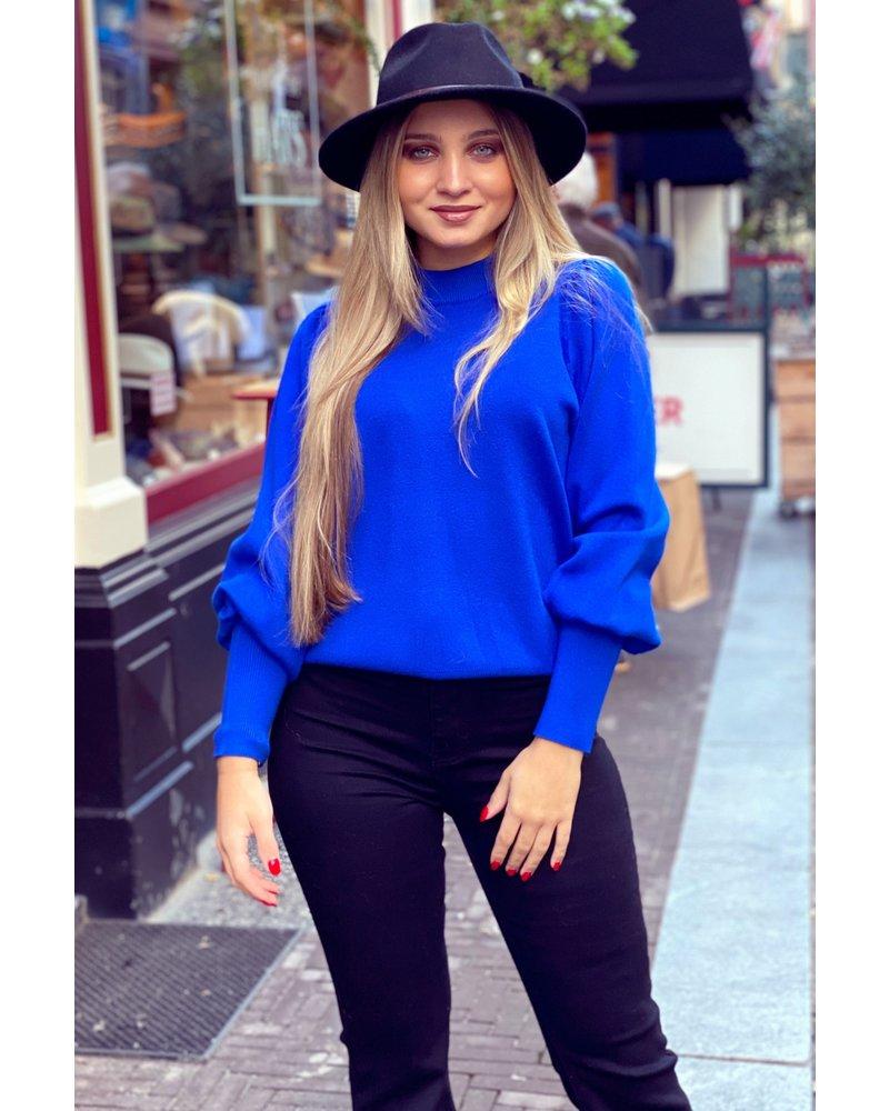 Puffy Sleeve Sweater - Kobalt