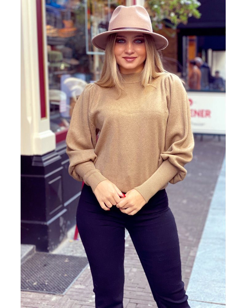 Puffy Sleeve Sweater - Camel