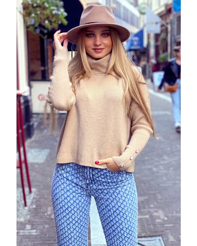 Cropped Col Sweater - Camel