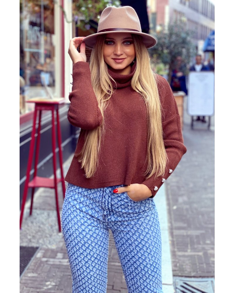 Cropped Col Sweater - Brown