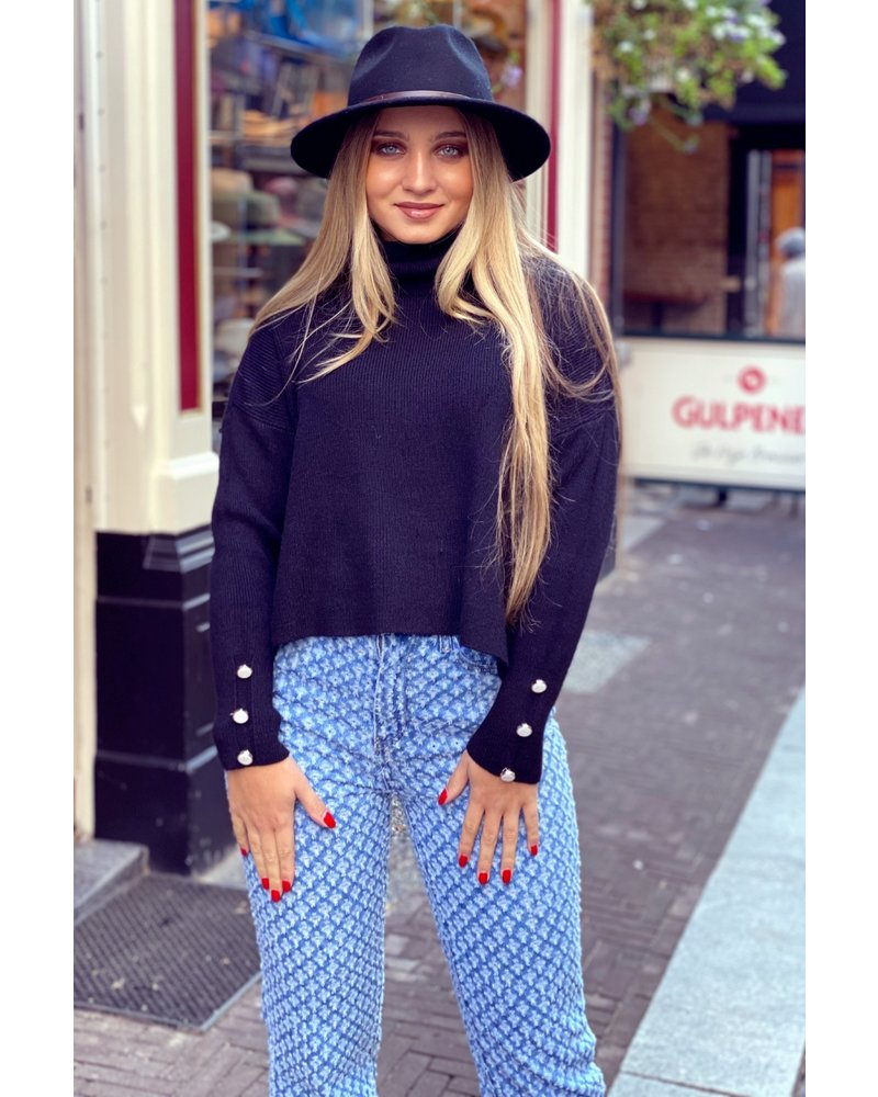 Cropped Col Sweater - Black