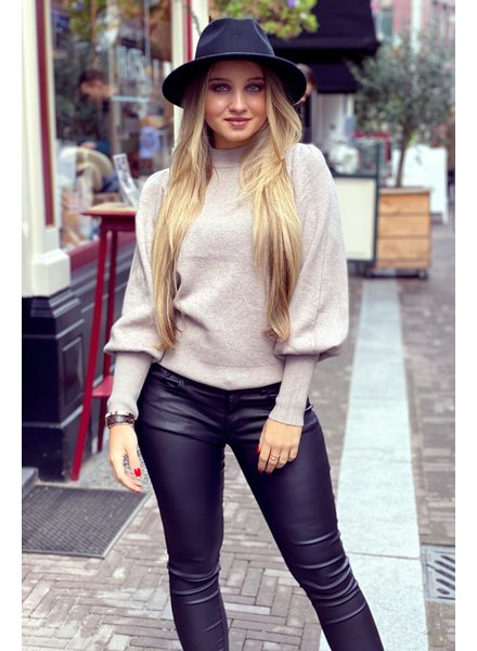 Puffy Sleeve Sweater - Taupe