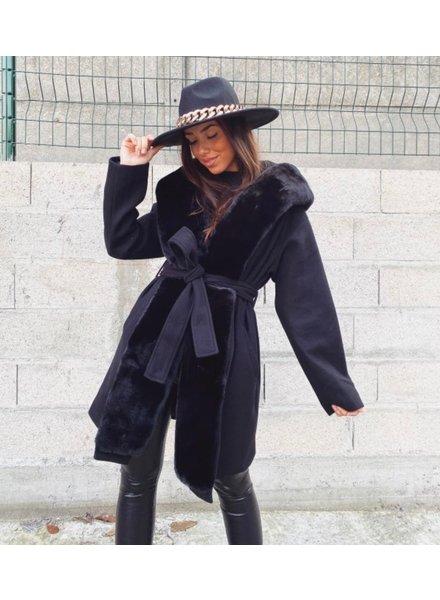 Parisian Fake Fur Coat - Black