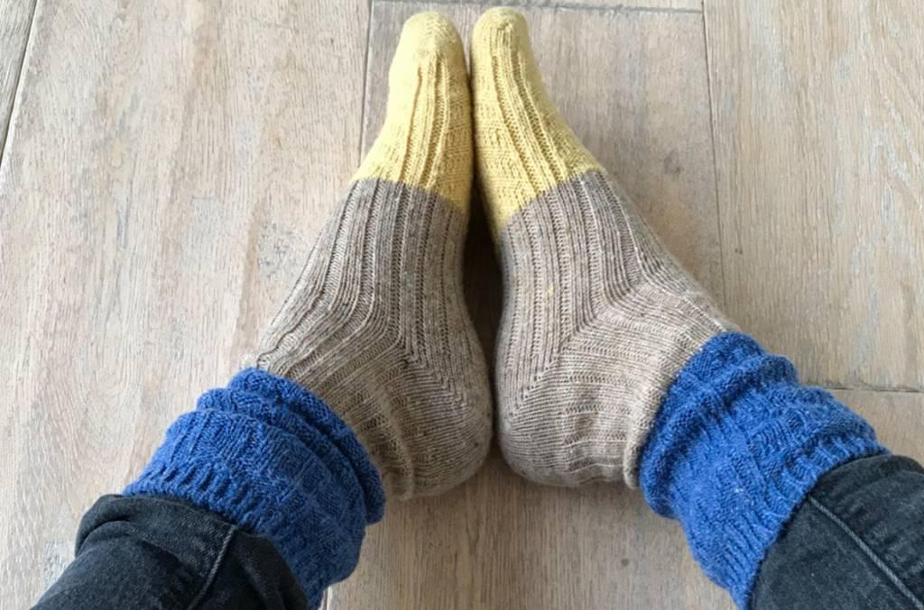 """Warme Winterwollsocken """"blau-beige-senf"""""""