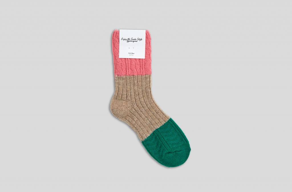 "Warme Winterwollsocken ""pink-beige-grün"""
