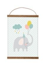 Poster für's Kinderzimmer - Kleiner Partyelefant