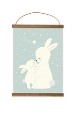 Poster für's Kinderzimmer - Hasen darkmint