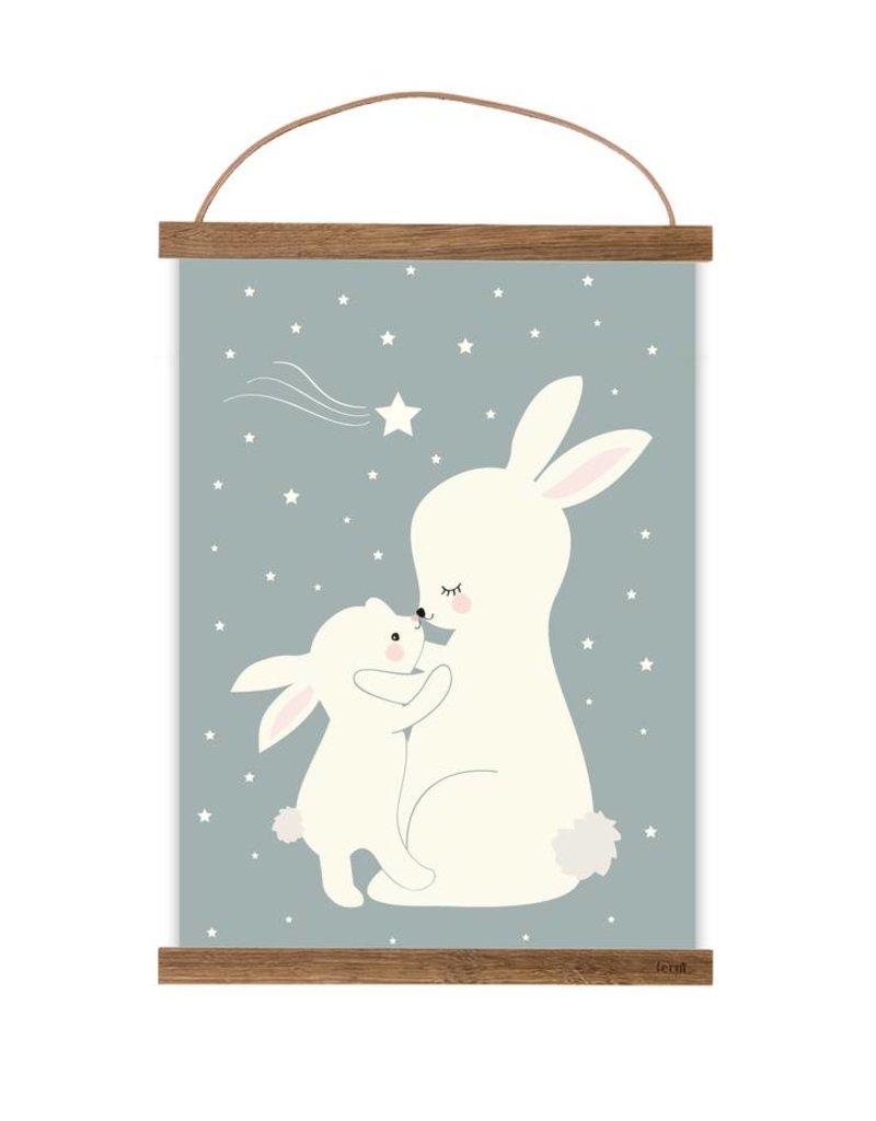 Poster Fur S Kinderzimmer Hasen Taubenblau