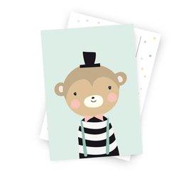 Postkarte Herr von Affe