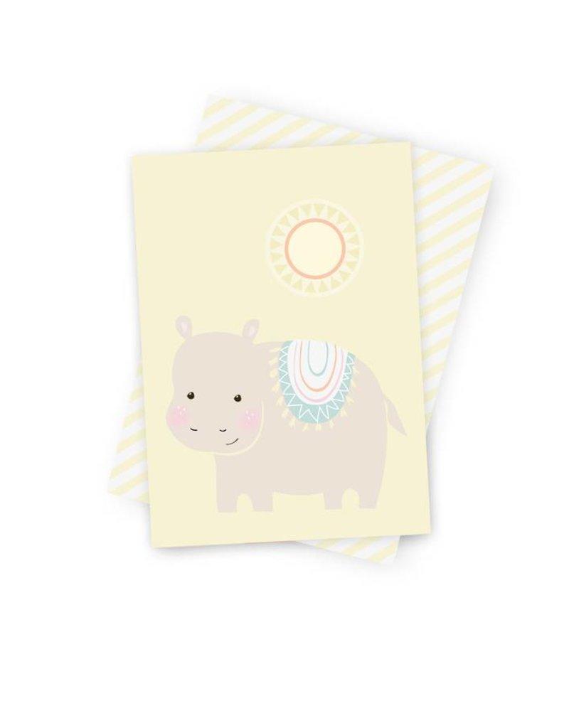 Poskarte Hippie Hippo-Original Mimirella Illustration