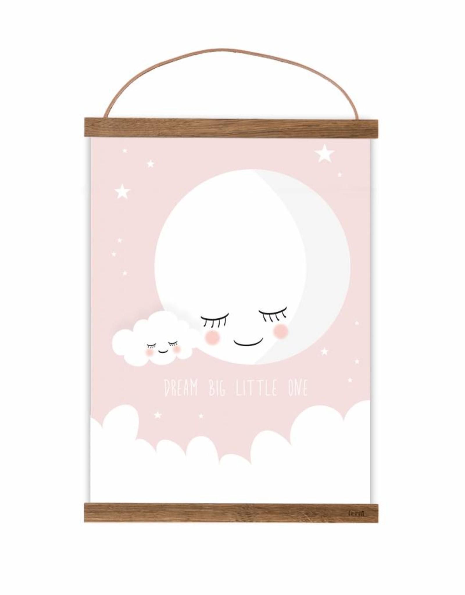 Poster für's Kinderzimmer- Mond rosa