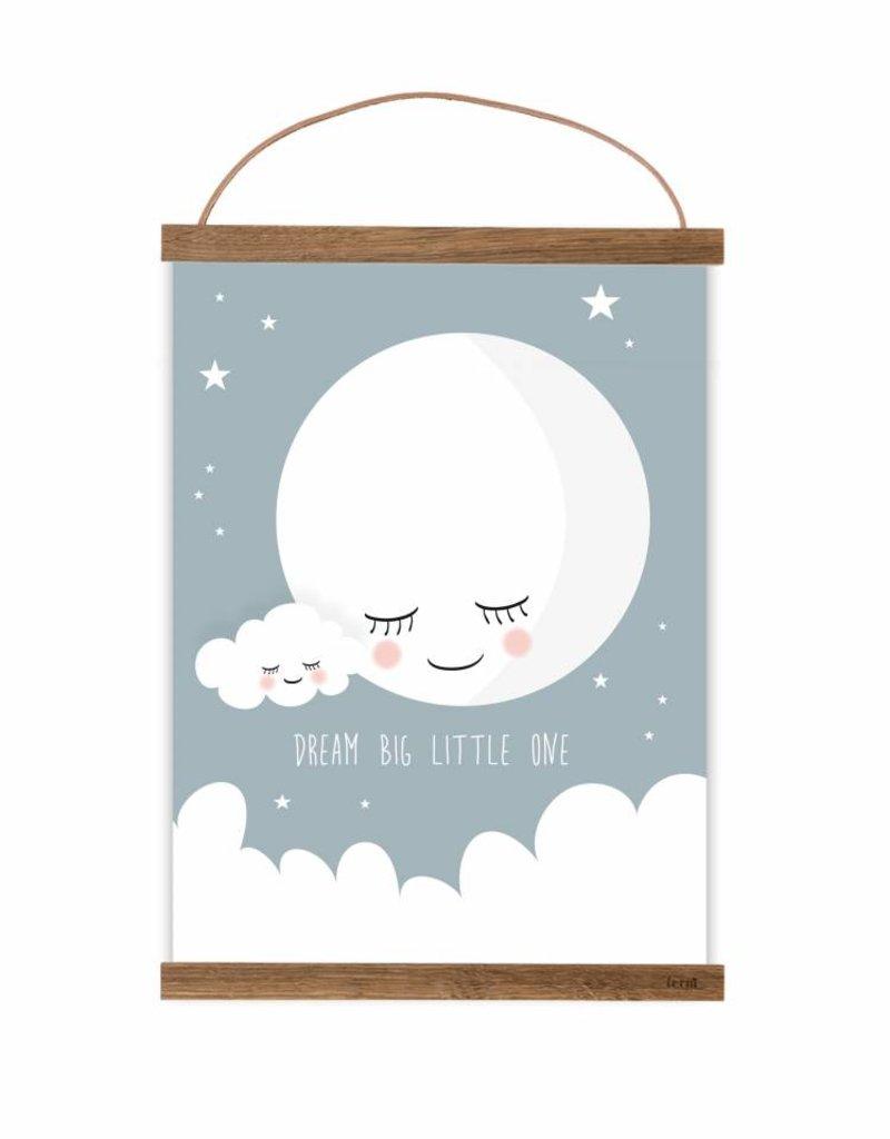 Poster für\'s Kinderzimmer-Mond taubenblau