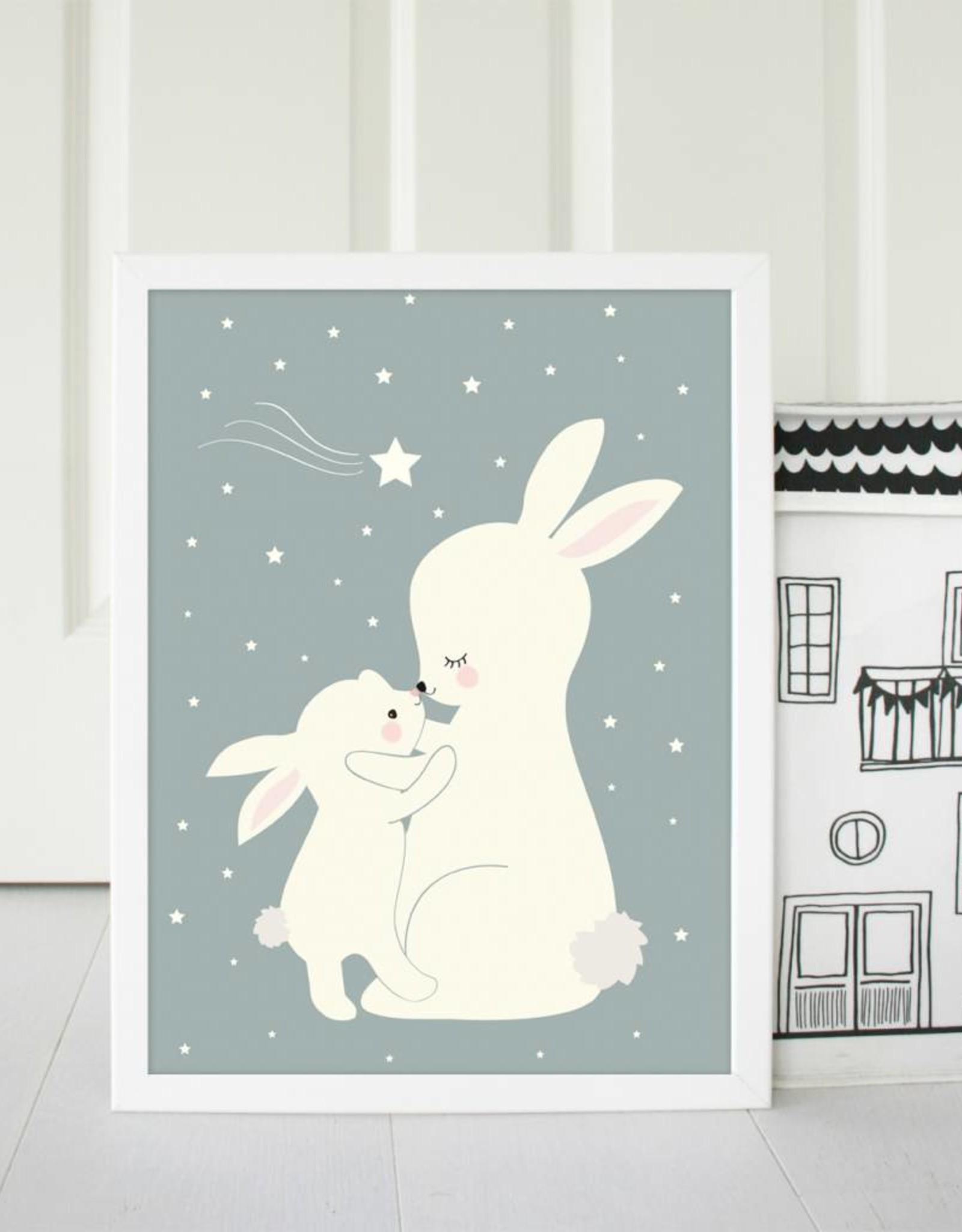 Poster für's Kinderzimmer - Hasen taubenblau
