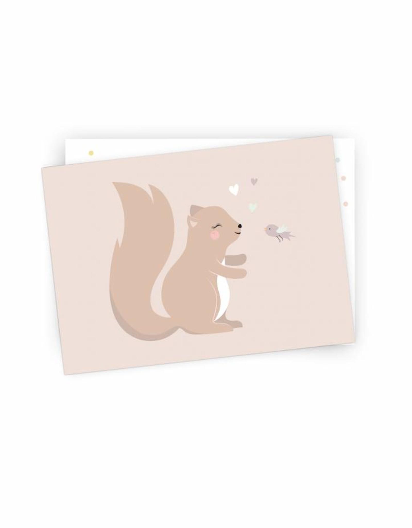 Postkarte Kleines Eichhörnchen- Original Mimirella Illustration