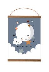 Poster für's Kinderzimmer - Kleiner Mond mattblau