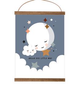 Poster Kleiner Mond mattblau