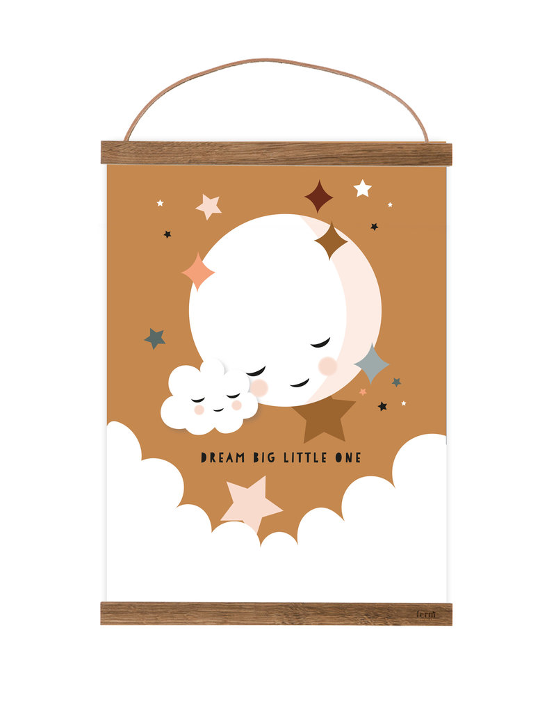 Poster für's Kinderzimmer - Kleiner Mond senfgelb