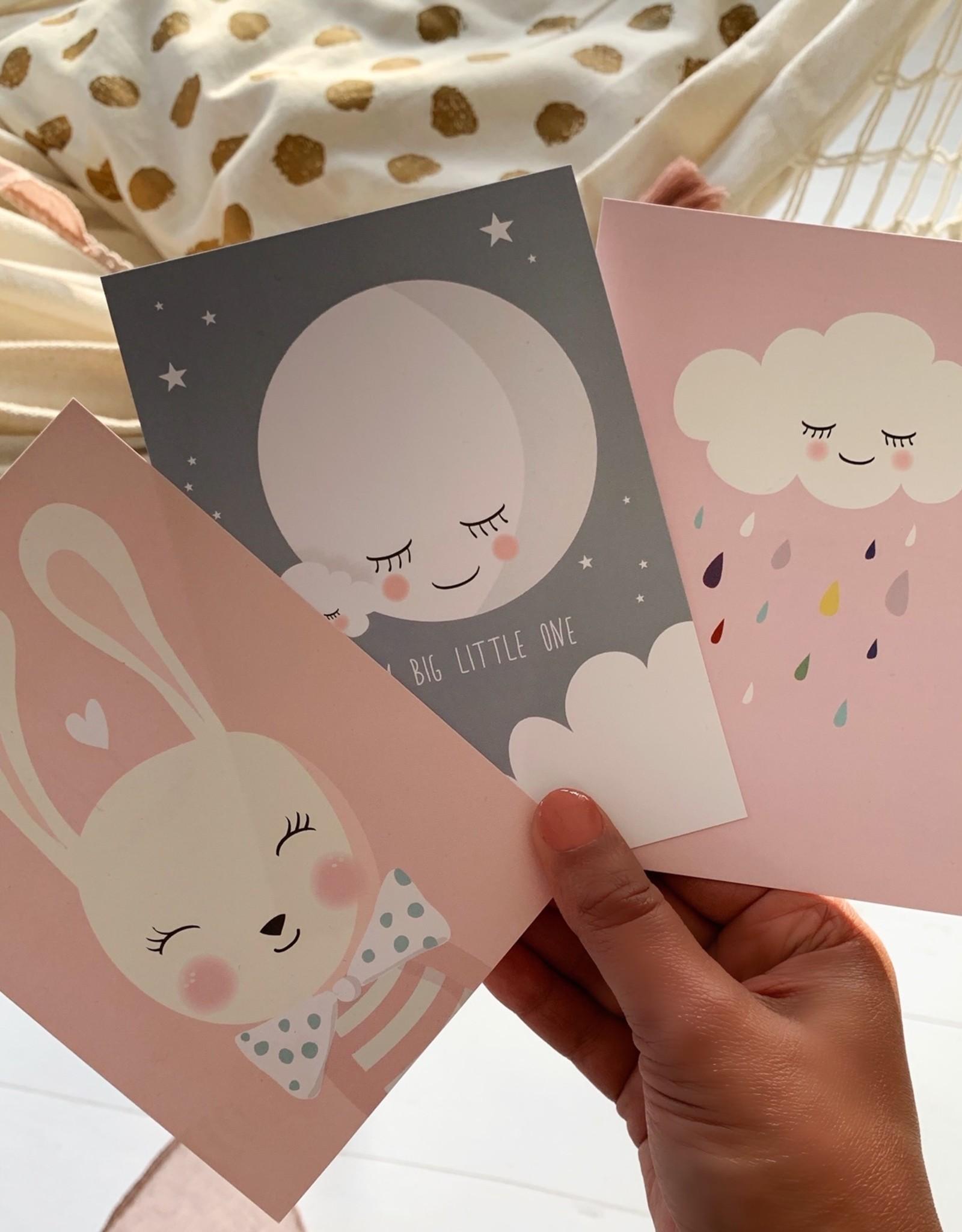 Postkartenset Hase, Mond & Wolke